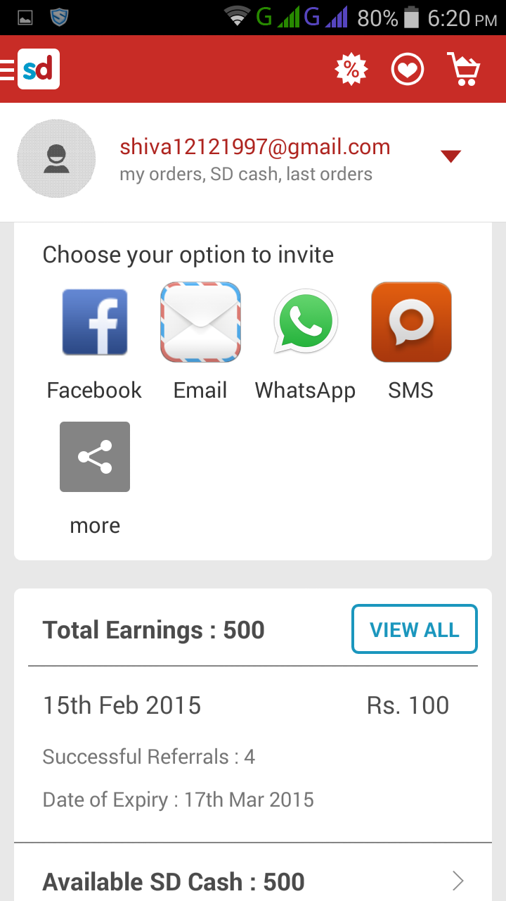 Snapdeal Earning Proof