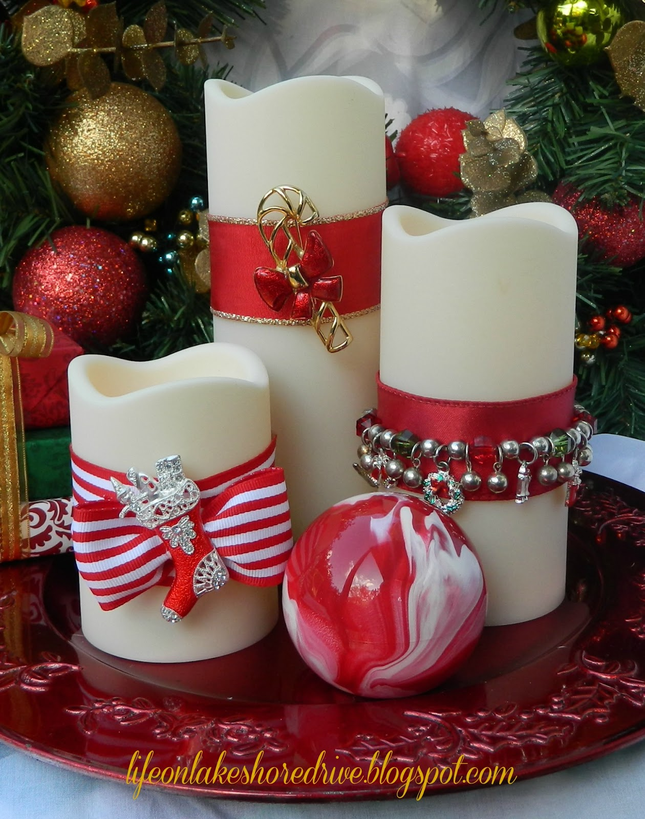 Diy christmas jewelry for candles life on lakeshore drive for Xmas decorations ideas images