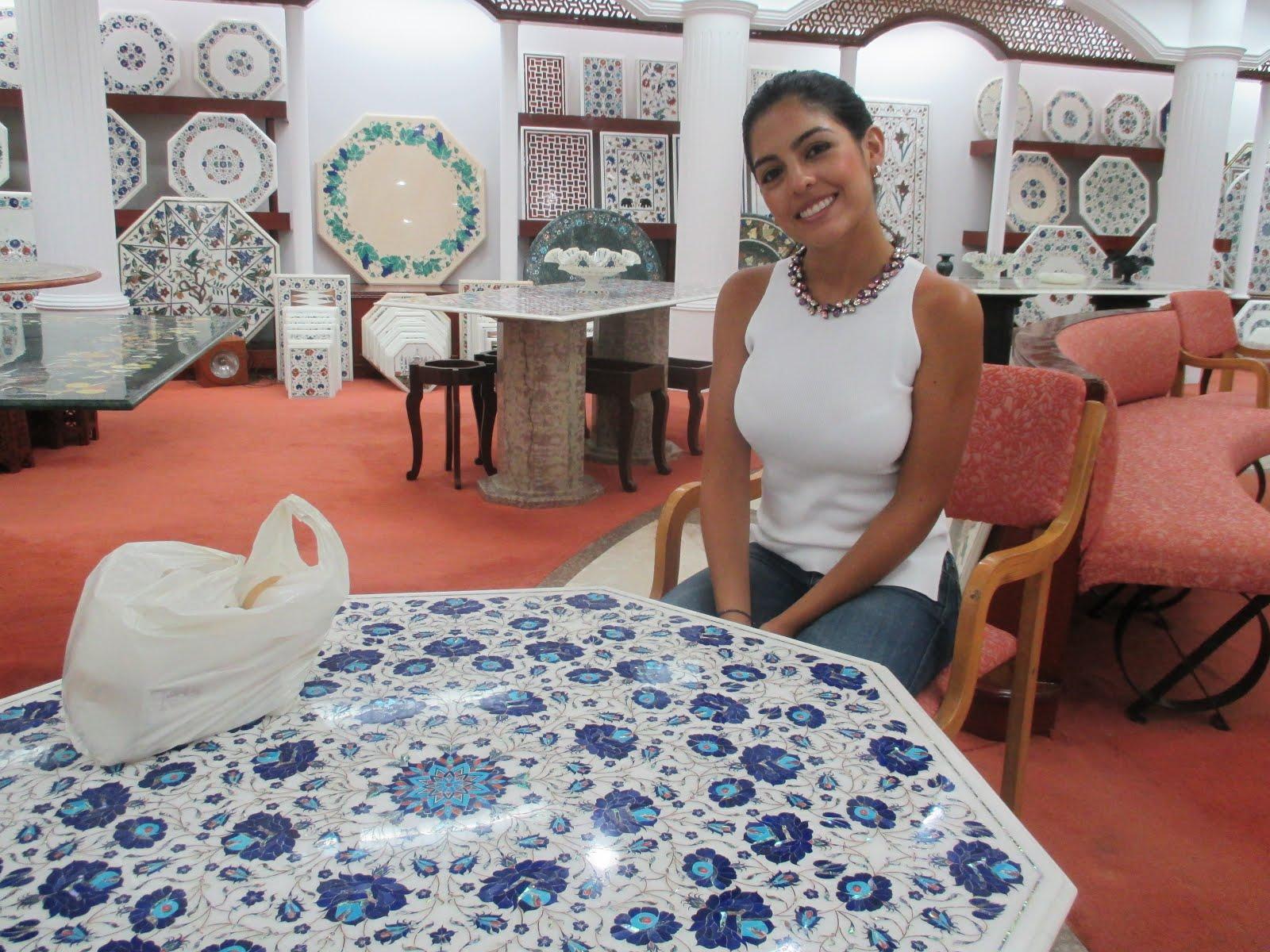 White Marble Handmade Inlay Art Coffee Table.