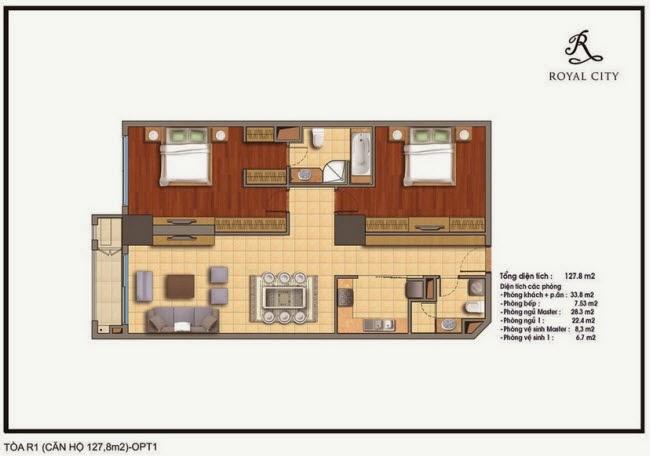 Chi tiết thiết kế căn hộ toà R1 chung cư Royal City diện tích 127.8 m2