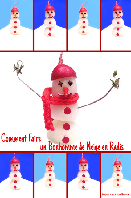 1 recette 1 minute sculpture de l gumes comment faire un bonhomme de neige en radis - Comment faire un bonhomme de neige en papier ...