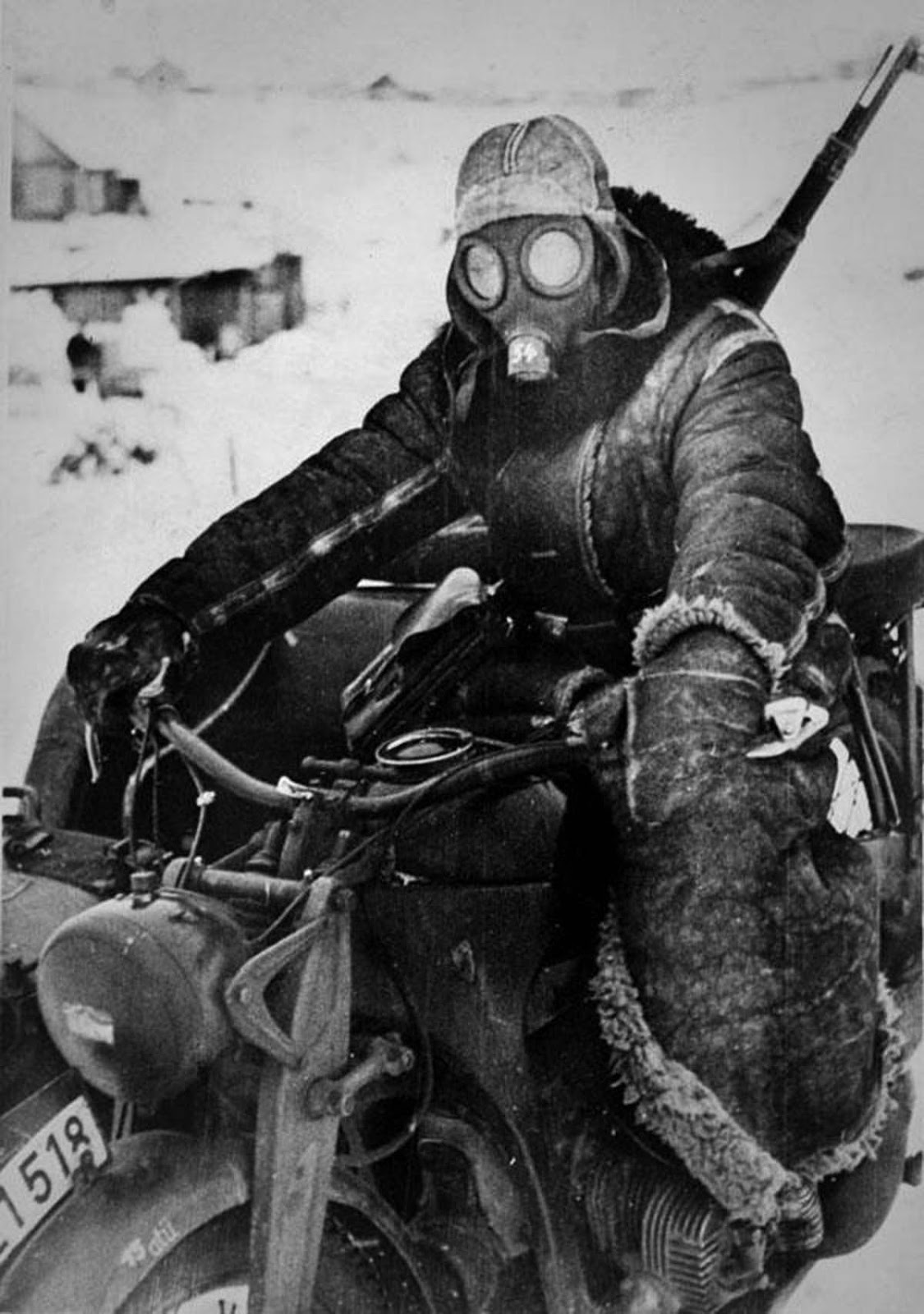 German motorcycle courier in Russia, 1942.