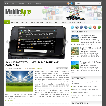 MobileApps blog template. template blogger with magazine style template. template blogger with image slider template. blogger template for gadget mobile application