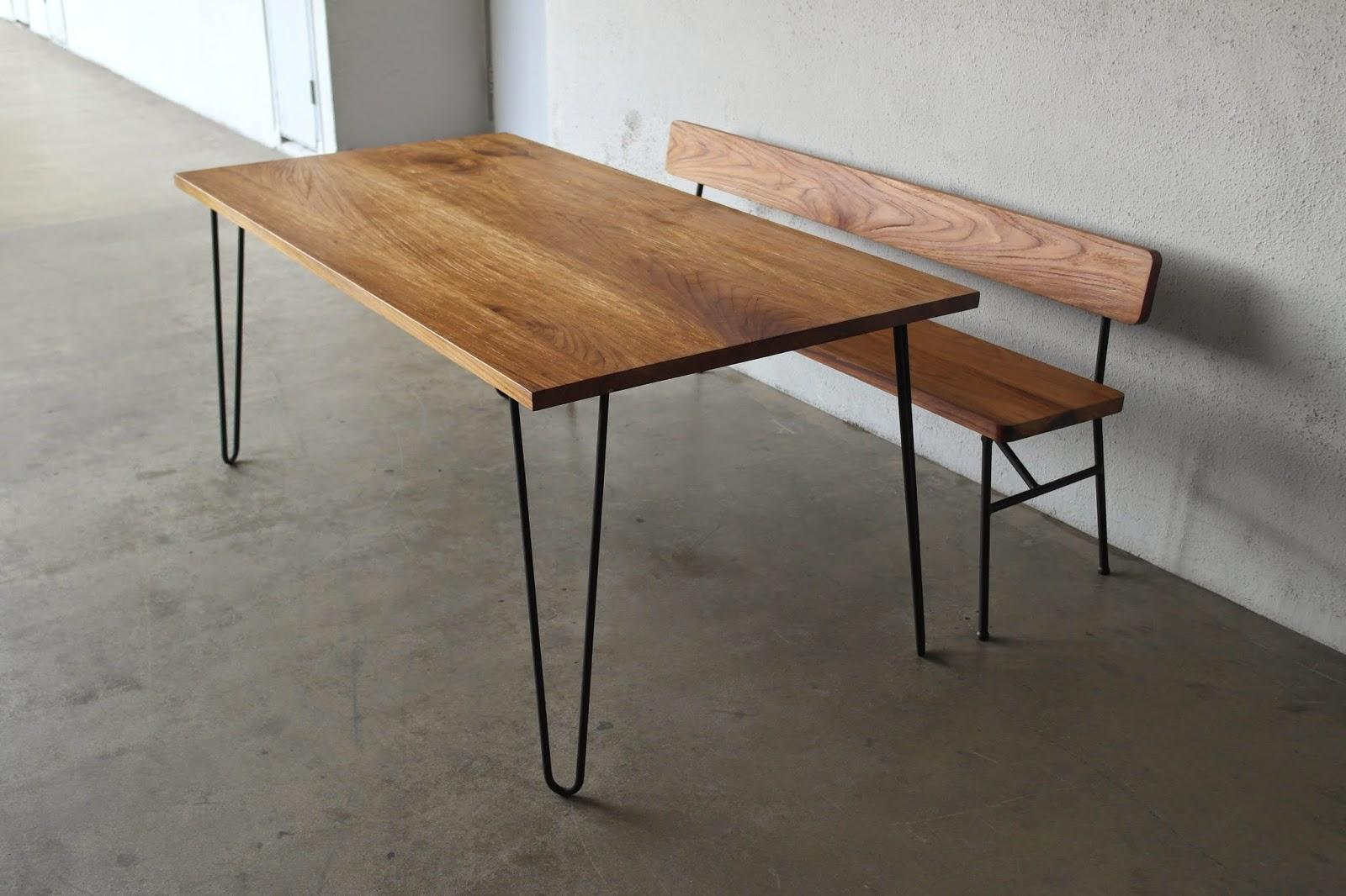 Matching Dining Table And Bench With Pencil Legs.