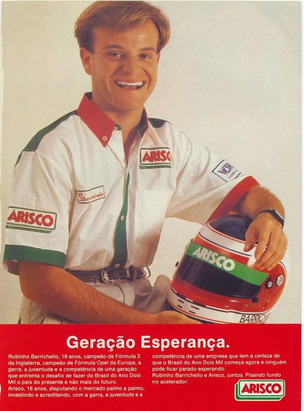 Propaganda da Arisco em 1992 com o jovem piloto Rubens Barrichello.