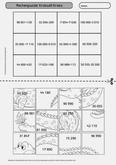 ideenreise rechenpuzzle krokodil kroko. Black Bedroom Furniture Sets. Home Design Ideas