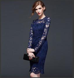 7-Color Long Lace Sleeve Cocktail Dress