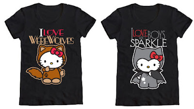 Hello Kitty Black Twilight movie vampires and werewolves T-Shirt