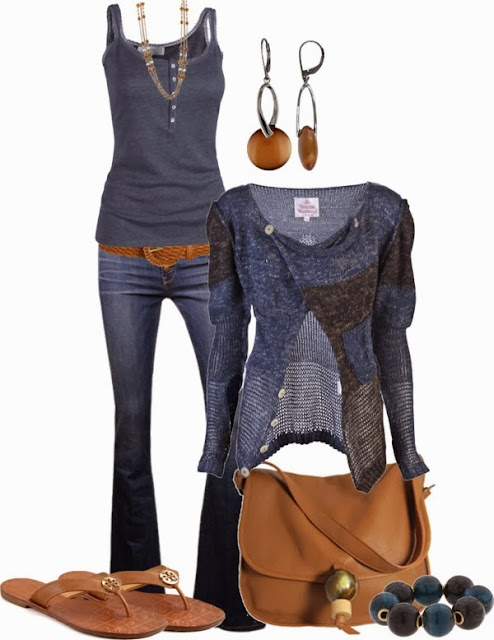 Grey blouse, jeans, cardigan, brown handbag and slippers combination