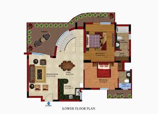 Czar Suites :: Floor Plans:Darius 6 - Lower Floor Plan Area - 2765 sq. ft. Terrace Area - 516 sq. ft.