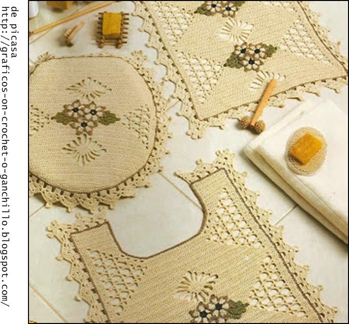 Juegos De Baño A Crochet:jueguito tejido a crochet para el baño con su grafico ganchillo y sus