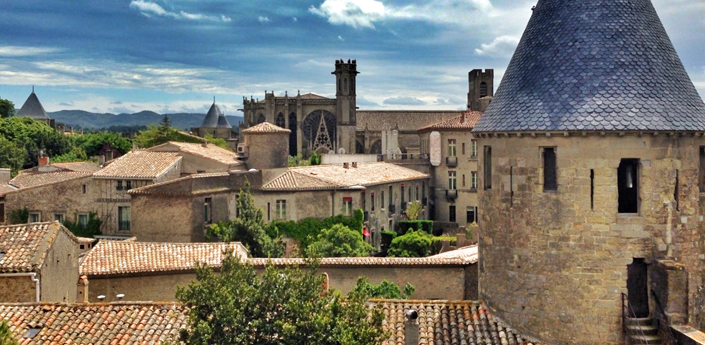 Looking over the rooftops of Carcassonne in France