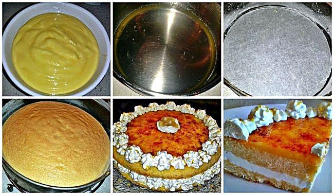 Preparación de la tarta con crema de limón caramelizado