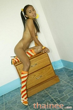 Tiny 4 foot 6 inches tall 72 lbs Thai teen Thainee shows her little boobies and tight twat
