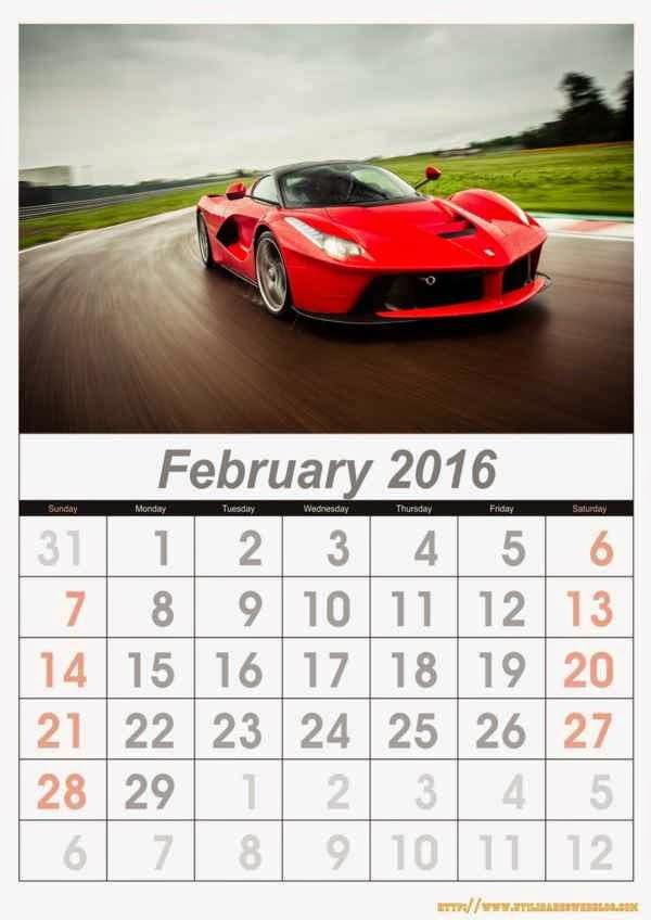 calendario de autos mes por mes del 2016 para imprimir