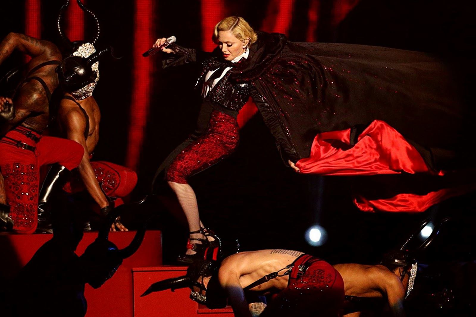 Singer Madonna falls during her performance at the BRIT music awards.