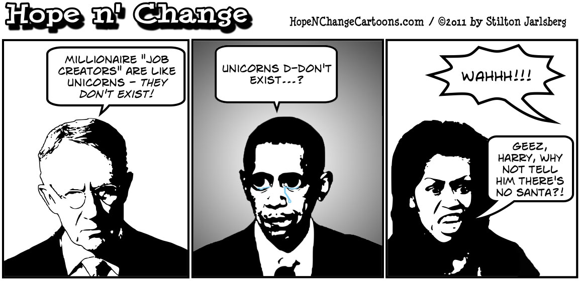 Harry Reid declares that millionaire job creators are like unicorns and don't exist, hopenchange, hope and change, hope n' change, stilton jarlsberg, political cartoon, tea party