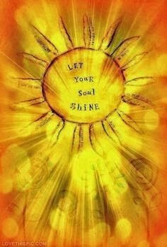 """Let your soul shine."" ~ Unknown; Drawing of the sun shining on flowers. lovethispic.com"