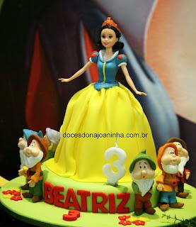 Branca de Neve e Sete Anões bolo decorado