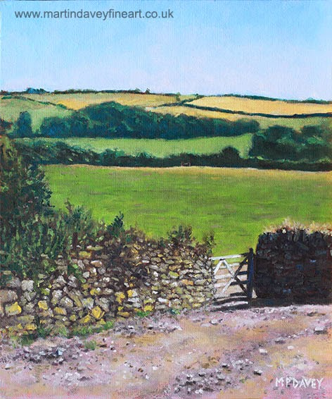 Colourful fields on a farm in Devon, UK-oil painting m p davey