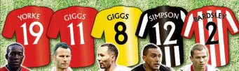Team of lovers ... Dwight Yorke, Ryan Giggs, Rhodri Giggs, Danny Simpson and Phil Bardsley