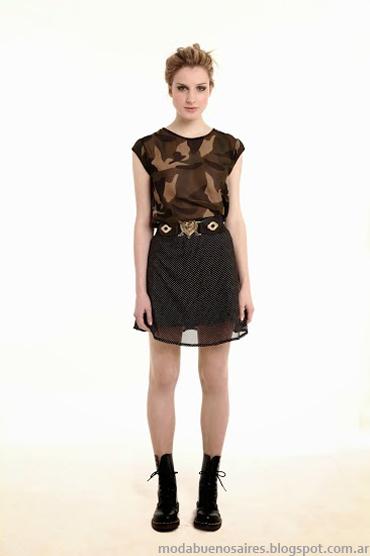Sieben primavera verano 2014. Faldas con transparencias.