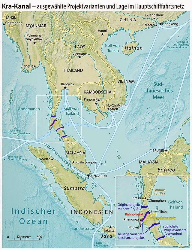 Karte Kra Kanal Thailand