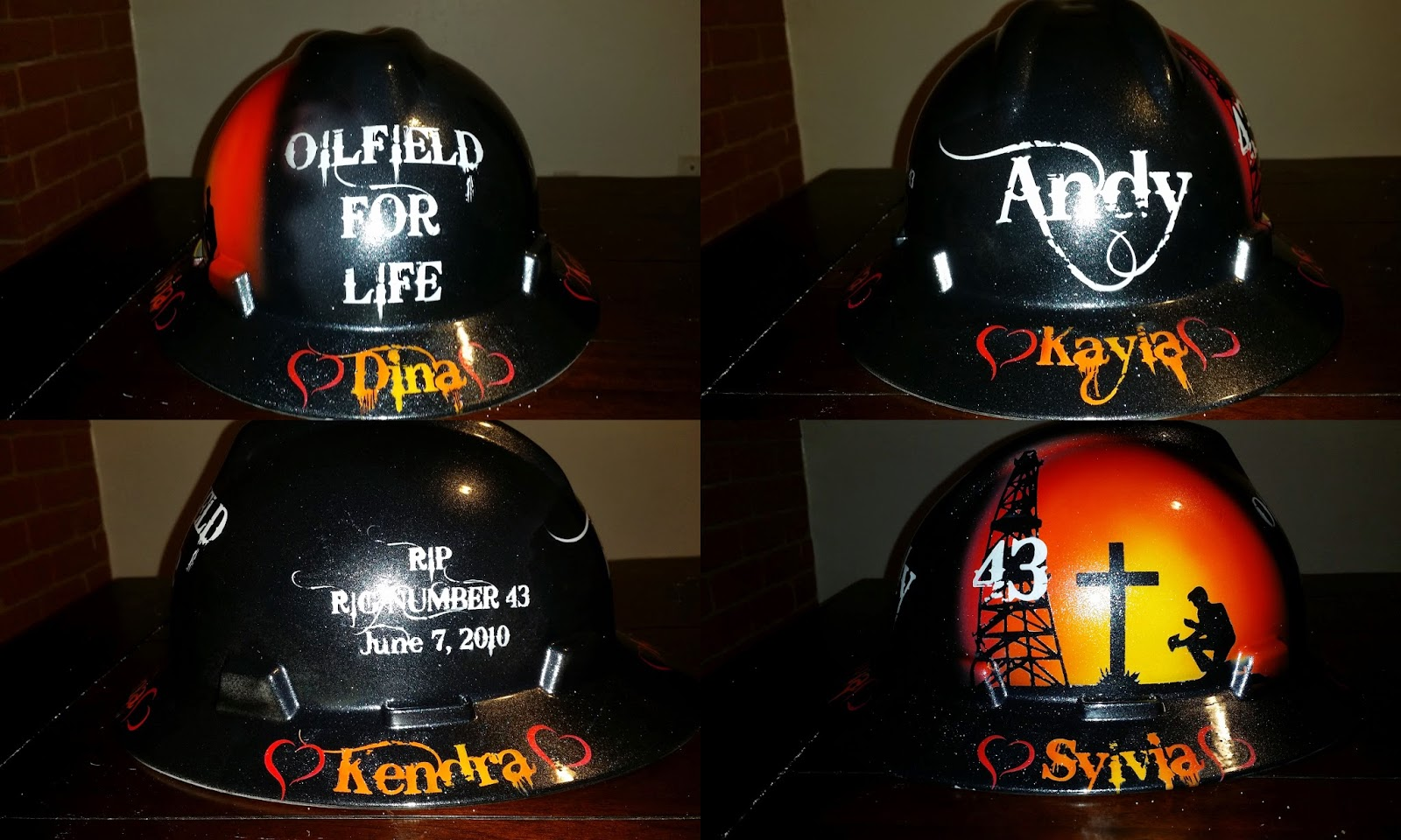 RIP RIG 43 custom pained memorial hard hat