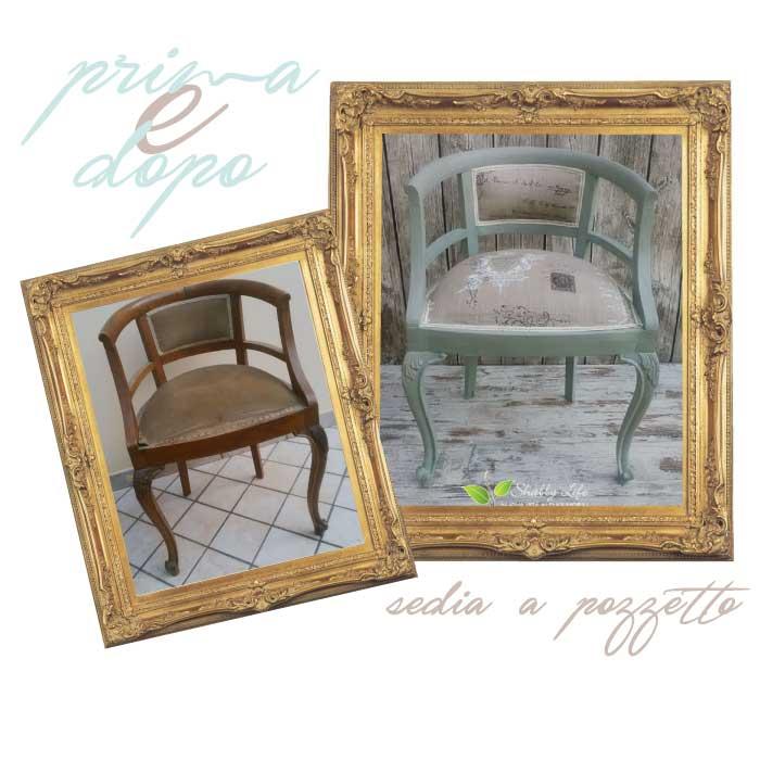 restyling shabby chic di sedia a pozzetto