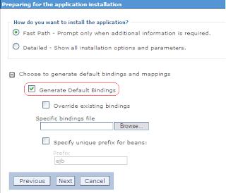 Opção Generate Default Bindings marcada durante o deploy da aplicação no WebSphere