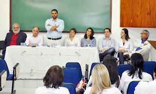 O diretor Luís Gustavo discursa sobre a importância do setor na solenidade de posse.