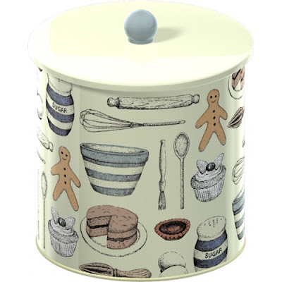 biscuit bin with pictures of gingerbread men and other baking-related items