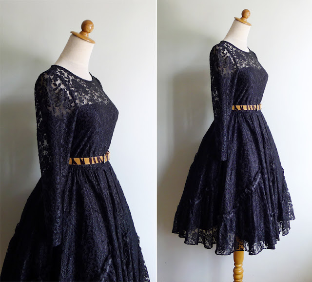 vintage 80's does 50's black lace party dress xs or s
