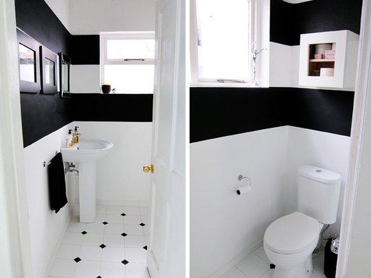 Дизайн туалета в черно-белой гамме