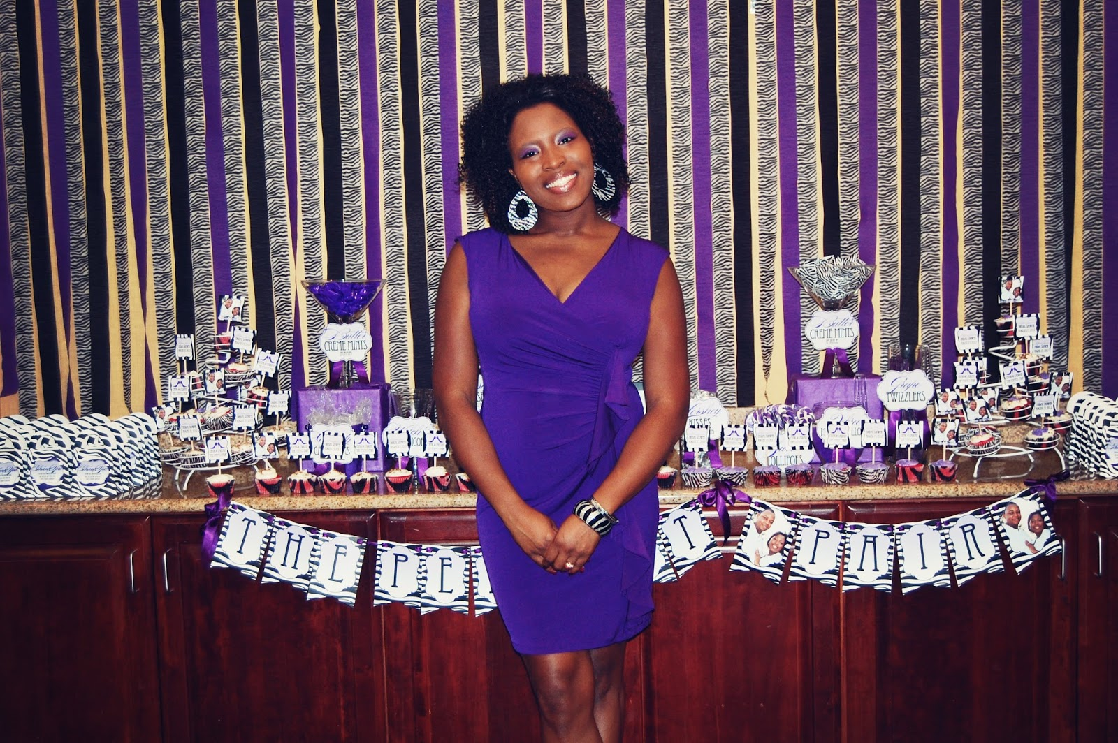 freelance real party zebra and purple bridal shower