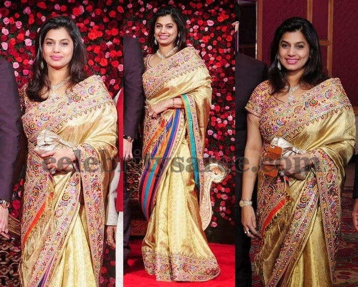 Pinky Reddy Gold thread Work Saree