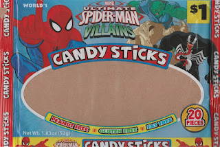 Front of Ultimate Spider-Man Villains Candy Sticks opened bag