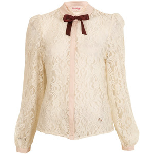 Cream lace Victorian style shirt with ribbon neck tie
