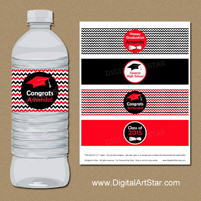 Printable red and black chevron graduation water bottle labels