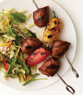 Grilled Sausage Kebabs with Pasta Salad