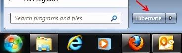 Windows 7 - Botão Hibernar