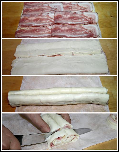 Proceso de elaboración palmeritas saladas - bacón y queso