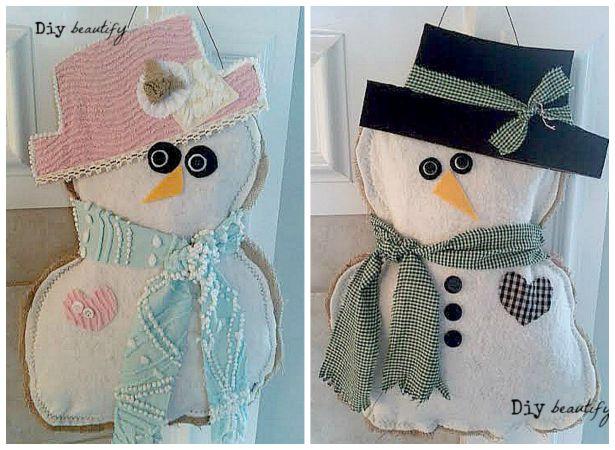 Make a burlap snow couple door hanging! | DIY beautify