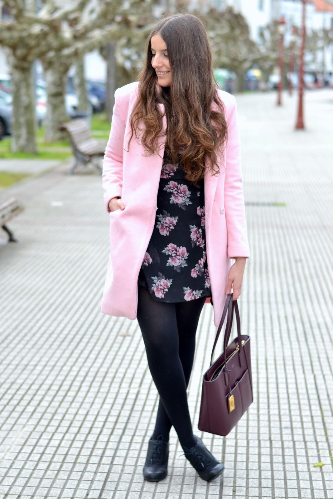 choies pink coat, H&M floral dres