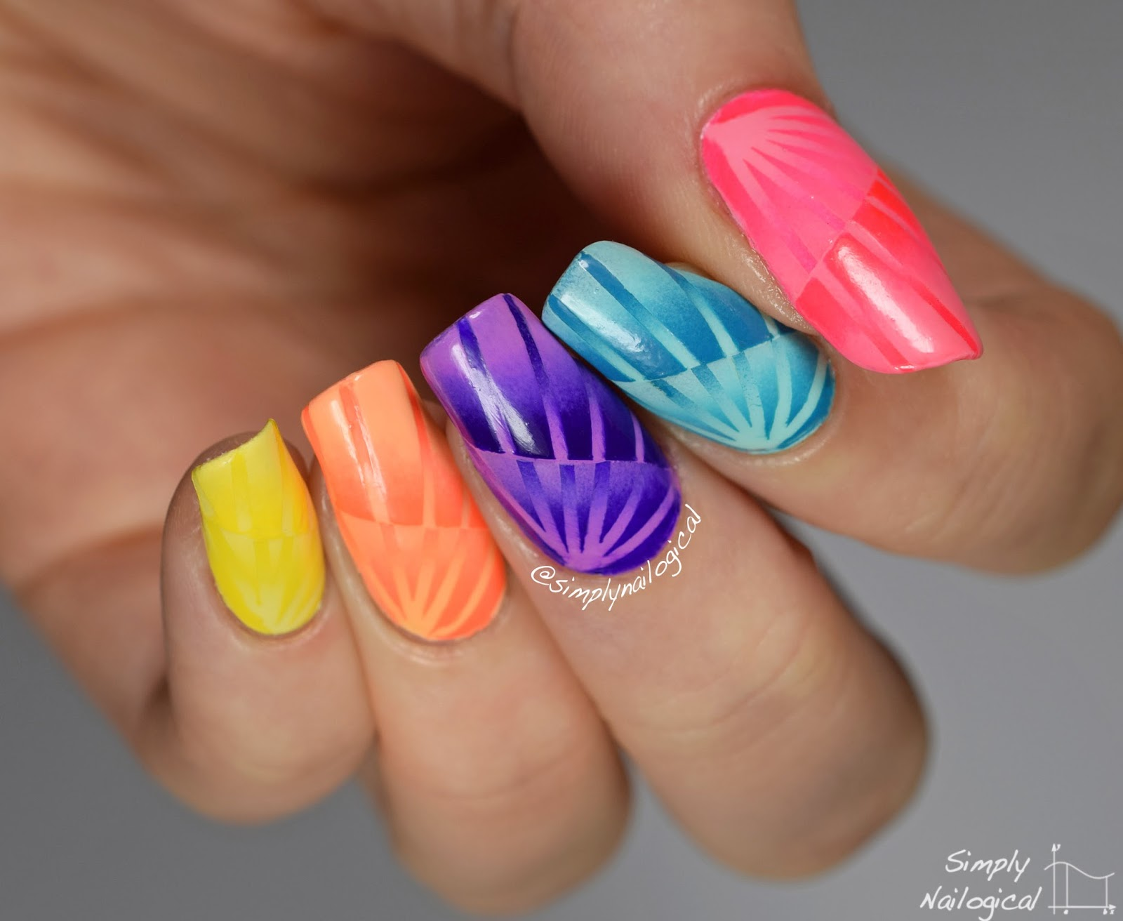 Simply Nailogical: Neon rainbow reciprocal scaled gradient
