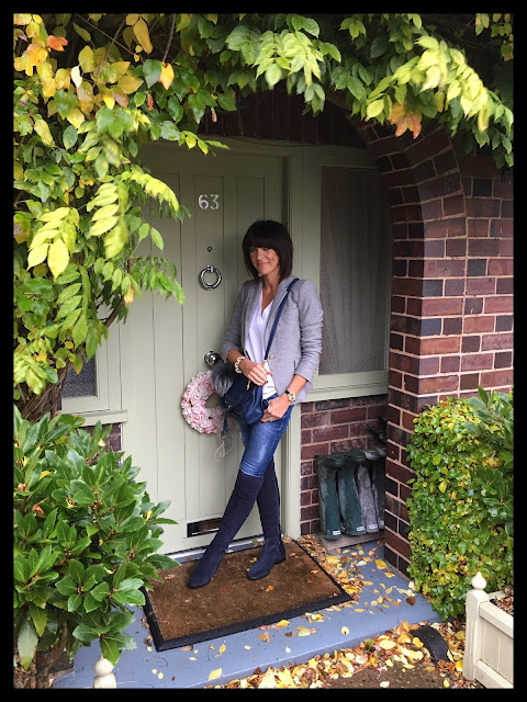 My Midlife Fashion, Clarks, Over The Knee Suede Boots, Zara Grey Single Breasted Jacket, Chloe Marcie Bag, Skinny Jeans