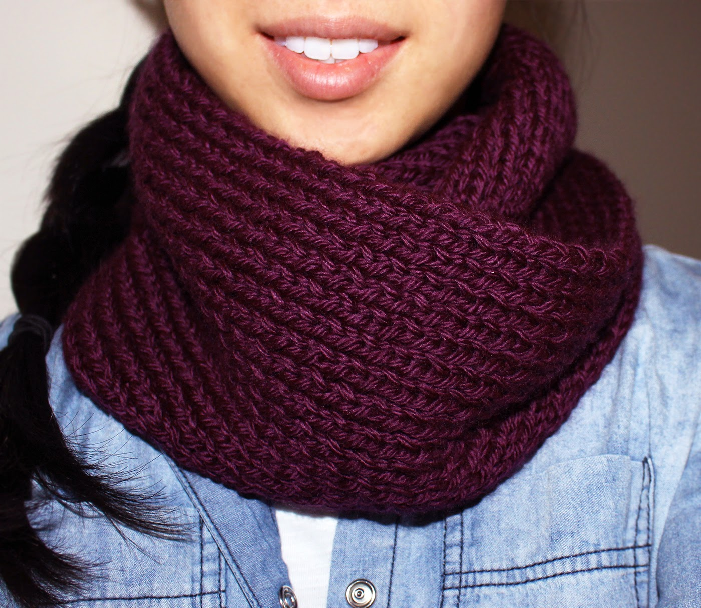 Easy Knitting Stitches Scarves : Purllin: Acai Infinity Circle Scarf [free knitting pattern]