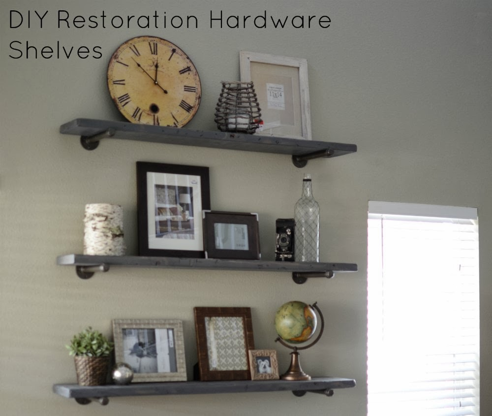 ... What We Live: Photo Wall Display on DIY Restoration Hardware Shelves