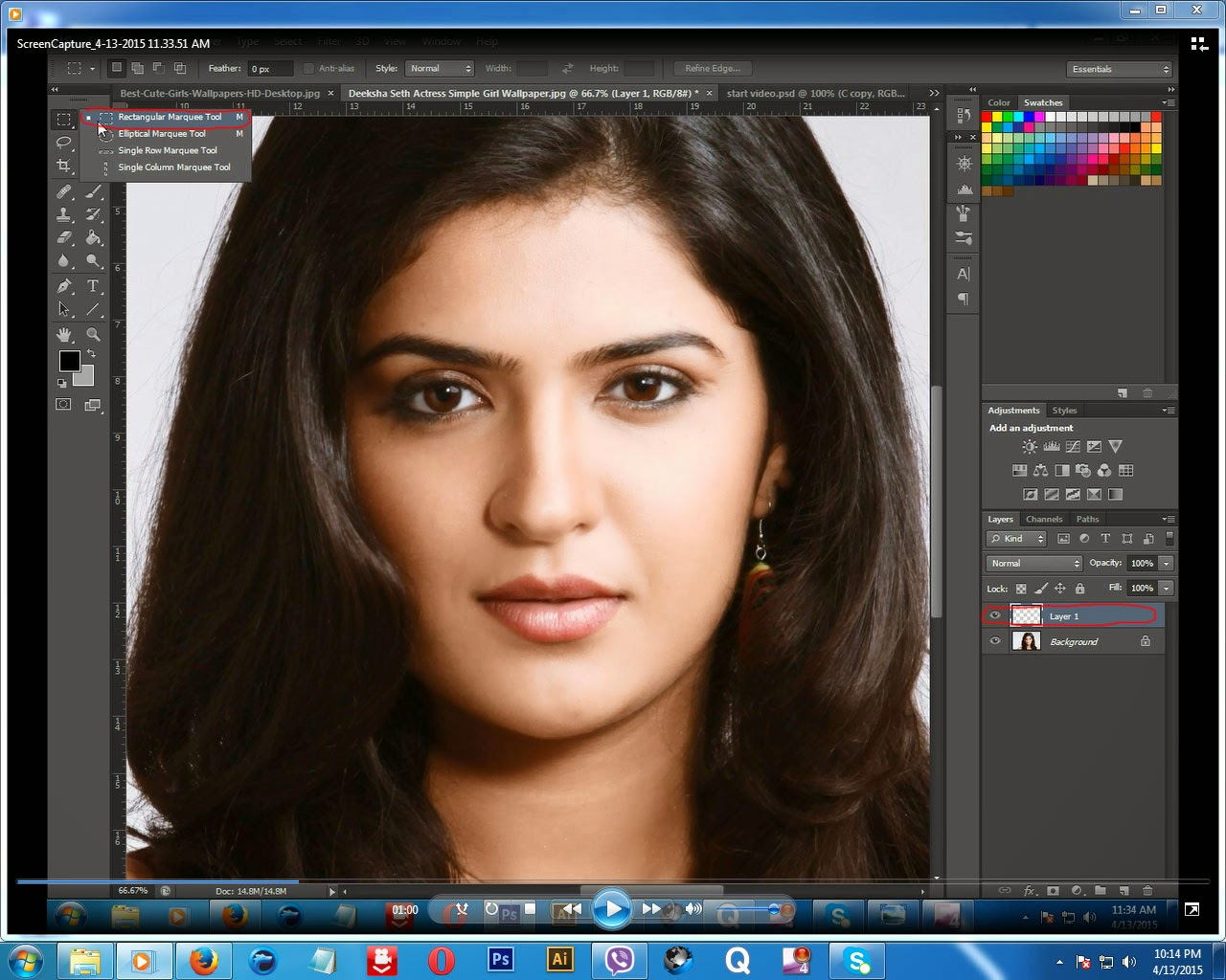 Photoshop tutorials create smile in photoshop step 1 take a new layer then select rectangular marquee tool like below baditri Image collections