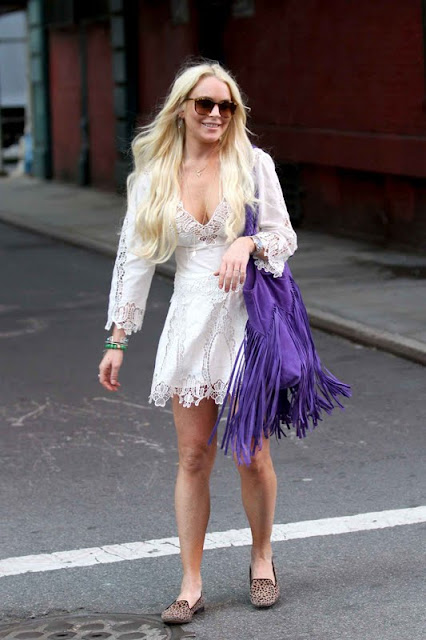 Lindsay Lohan – White Dress in Soho